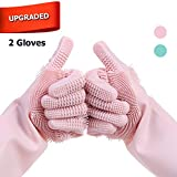 Upgraded Premium Magic Saksak Silicone Dishwashing Gloves, Double Sided Scrubber for Cleaning Kitchen Dishes Washing Bathroom Scrubbing Pet Grooming (Pink)