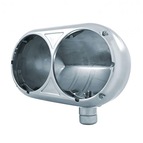 United Pacific Peterbilt 359 Style Dual Headlight Housing, 304 Stainless Steel-Driver/Passenger