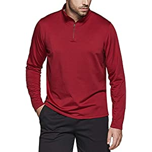 TSLA Men's Quarter Zip Thermal Pullover Shirts, Winter Fleece Lined Lightweight Running Sweatshirt