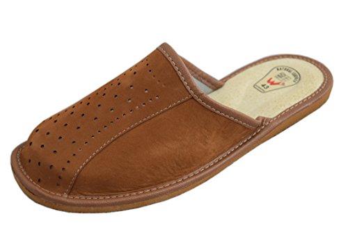 Pantofole da uomo in pelle naturale Muli, Marrone (Brown/4), 47