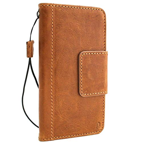 Genuine Real Tan Leather Case for Samsung Galaxy S10 Plus Book Wallet Luxury Magnetic Closure Clasp Cover S Handmade Retro Id Holder Cards Slots s 10 daviscase