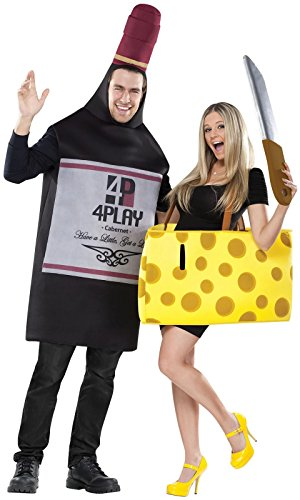 [FunWorld Perfectly Paired Wine And Cheese Set, 2 COSTUMES IN 1 BAG,  Black/Yellow, One Size] (Wine And Cheese Couples Costume)
