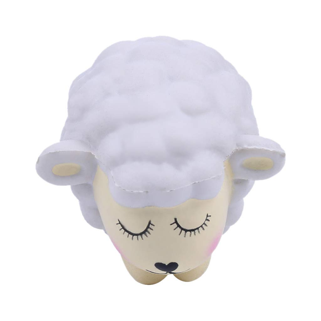 Stress Reliever Cute Lamb Scented Super Slow Rising Kids Squeezable Toy,Squishies Toys (White)