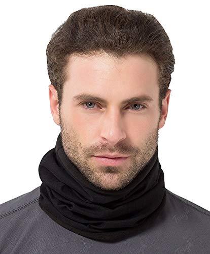 Womens Neck Scarf (Tough Headwear Reversible Microfiber Fleece Gaiter Tube Neck Warmer (Solids) - Black)