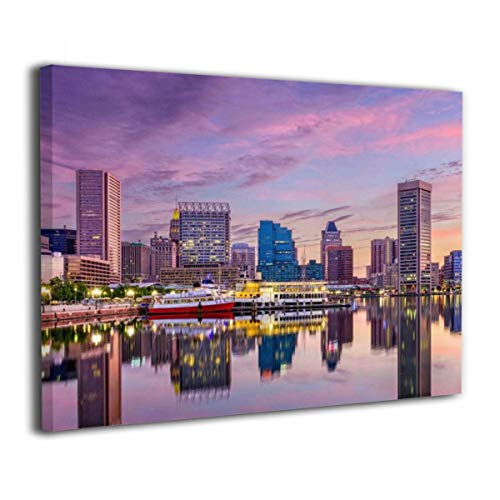 Paulino Baltimore Maryland Skyline at The Inner Harbor Canvas Prints Paintings for Living Room Bedroom Bathroom Home Decorations Modern Stretched and Framed Giclee Artwork 12