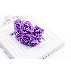 6Pcs Artificial Rose flower Stamen Scrapbooking Bouquet flowers for Home Garden wedding Car corsage decoration Supplies Color Purple 45