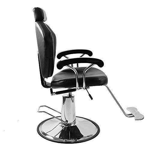 PanaCasa - Sillón Peluquería Barbería Maquillaje Tapizado PU Giratorio 360 grados Ajustable Color Negro Hidráulica