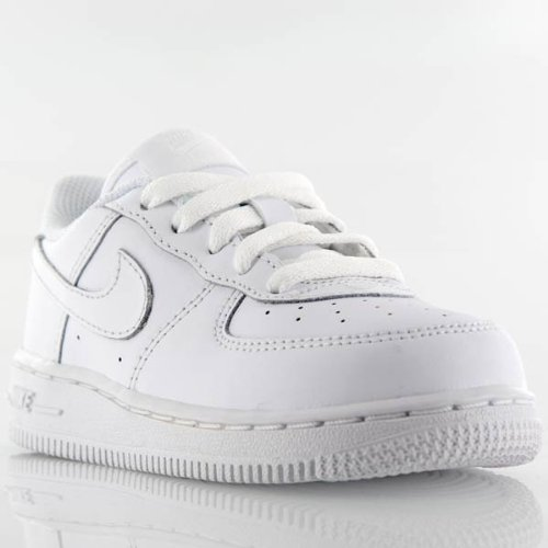 Nike Kid's Air Force 1 Low Basketball Shoes, White/White-White 4C
