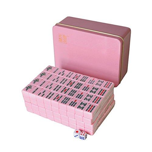 Lemonda Mini Chinese Mahjong Tiles 144PCS/Set Tin Box Packaging Portable Travel Mah-Jong Games Set Pink by Lemonda
