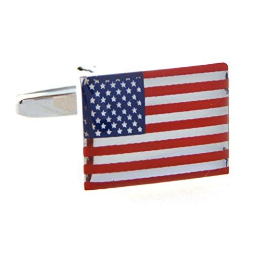 MRCUFF American Official Flag USA America Pair Cufflinks in a Presentation Gift Box & Polishing Cloth (Flag o)