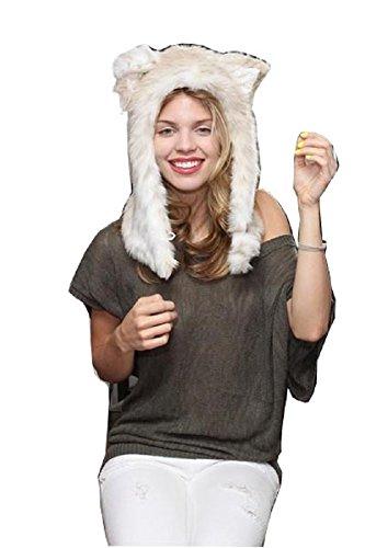 Leopard Hood (Mystiqueshapes Animal Thermal Hoodie Hood Faux FUR (Snow Leopard-Half))