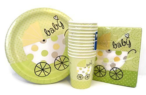 Green-and-Yellow-Baby-Shower-Themed-Party-Pack-with-Plates-Napkins-and-Cups