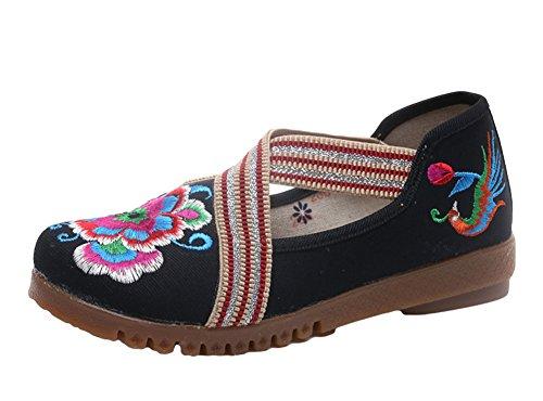 Avacostume Vrouwen Geborduurde Elastische Band Comfortabele Flats Loafer Schoenen Zwart