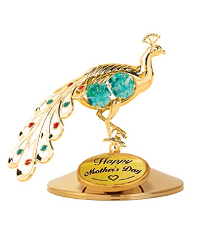 Happy Mother's Day - Peacock Table Decor..... with Green Swarovski Element Crystals