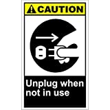 Unplug When Not In Use Caution OSHA / ANSI LABEL DECAL STICKER 9 inches x 12 inches