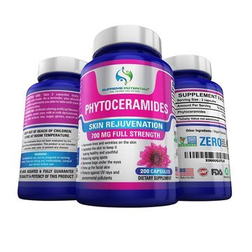 (Supreme Potential Phytoceramides to Combat Aging & Dull Skin - 700mg - 200 Capsules - 100 Day Supply - Manufactured in USA. (1))