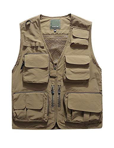 Jenkoon Men's Work Multi-Pockets Lightweight Outdoor Travel Fishing Vest (Khaki-05, Large)