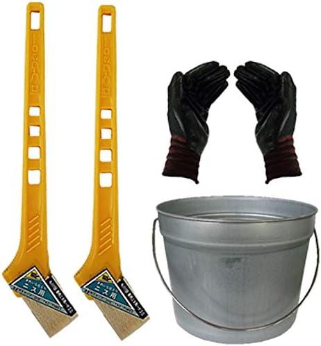ペール缶付き黄柄ニス用ハケ30mm巾2本(作業手袋付き)通常便