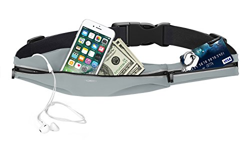MoKo Sports Running Waist Belt, Water Resistant Runner Fanny Pack, 2 Pockets Fitness Workout Bag for Plogging, Hiking, Jogging, Compatible with iPhone X, 8/7/6S Plus Galaxy S9/S8 Plus, Note 9/8
