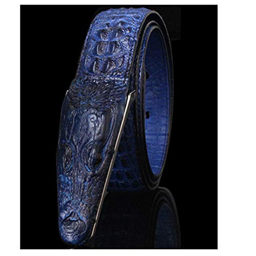 Cinturón de piel para hombre, diseño de casco, Azul, 125 cm
