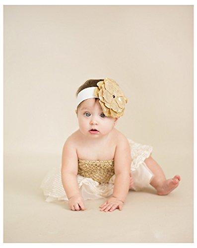 Jamie Rae Hats White Soft Headband with Sequins Gold Rose, Size: 12m+ (Headband Jamie Hats Rae)