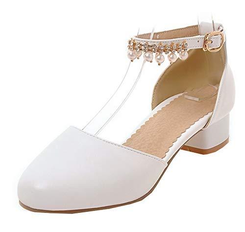 FBUIDD010620 Donna Flats Tacco Basso Fibbia AllhqFashion Bianco Ballet Puro CUpqS0x6