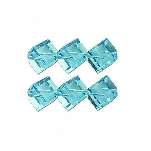 6 Aqua Square Dice Swarovski Crystal Beads 5600 6mm