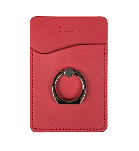 Acquality PU Leather Cell Phone Wallet/Pocket/Card Holder with Ring Stand for Mobile Devices, Adhesive Sticker Back (Red)