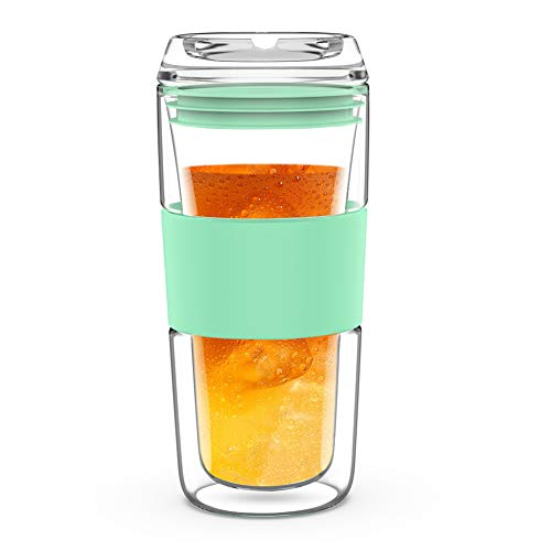 14OZ Double Wall Insulated Glass Tumbler with Glass Lid Borosilicate Glass Tea/Coffee Mug | Reusable Hand Blown Drinking Glass - Mint Green/Green/Red (Mint Green)