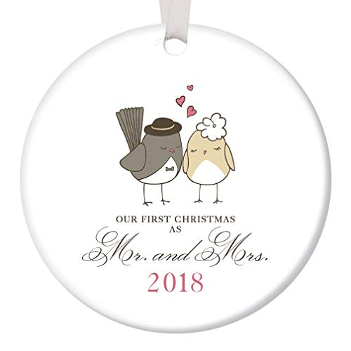 Christmas Personalized Ornament Tree (Our First Christmas as Mr & Mrs Ornament 2018 Adorable Newlywed Love Birds Ceramic Keepsake Wedding Gift 1st Holiday Married Couple Present 3