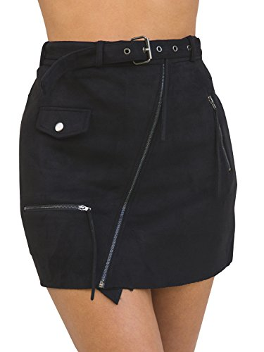 Simplee Apparel Women's High Waisted Suede Leather Bodycon Mini Skirt Black