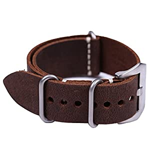 EACHE 22mm Crazy Horse Genuine Leather ZULU Version Military Watch Strap Watchband
