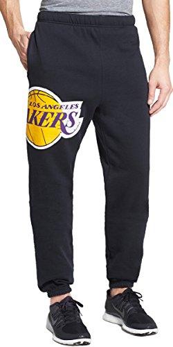 Julius Logo Pant - Mitchell & Ness Los Angeles LA Lakers Men's Side Logo Cuffed Fleece Sweatpants (Black, Small)