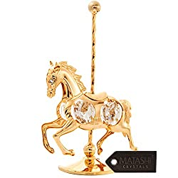 Gold Plated Crystal Studded Carousel Horse