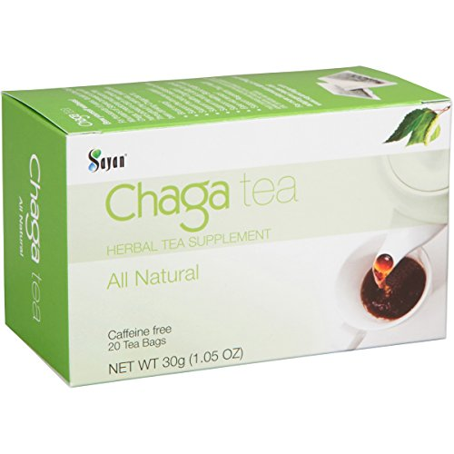 Sayan Siberian Chaga Mushroom Tea (Unbleached 20 Tea Bags) – Wild Harvested, Mix of Raw and Extract Chaga, Herbal Tea Supplement, Caffeine Free