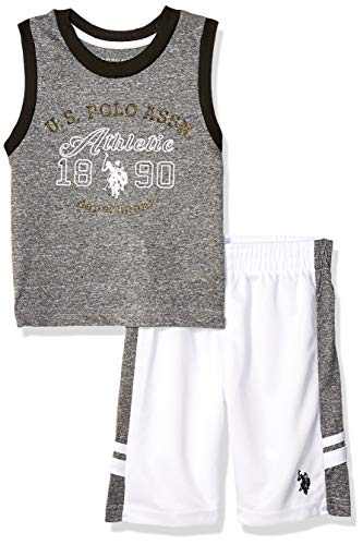 U.S. Polo Assn. Boys' Toddler 2 Piece Athletic Tank and Mesh Short Set, athletic white, 2T