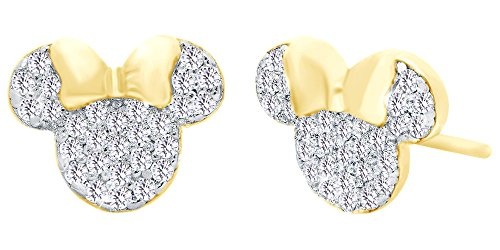 Jewelry Mouse Gold Mickey - Sparkling White Cubic Zirconia Minnie Mouse Stud Earrings In 14K Yellow Gold Over Sterling Silver
