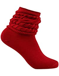 Red Slouch Scrunchy Heavy Fitness Long Ribbed Winter Socks