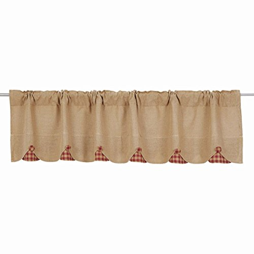 VHC Brands Burlap with Burgundy Check Scalloped Valance, 16x72