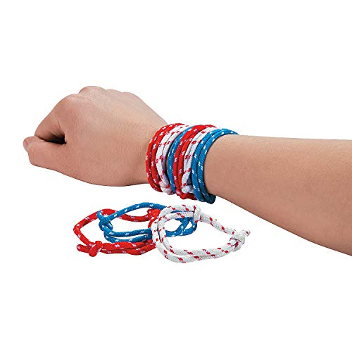 Fun Express - Red/White/Blue Rope Bracelets (6dz) for Fourth of July - Jewelry - Bracelets - Friendship Bracelets - Fourth of July - 72 Pieces ()