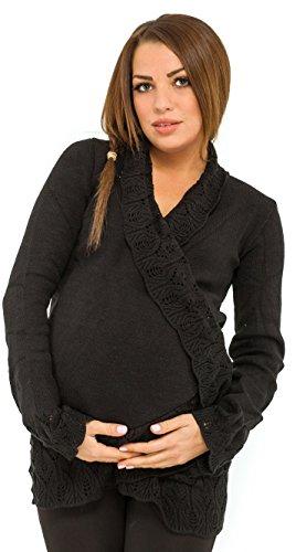 [Happy Mama. Womens Maternity Wrap Crochet Details Knit Warm Cardigan. 406p (Black, ONE SIZE US 6/8/10)] (Maternity Sweater Coat)