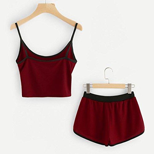 shirt Fitness Femme Sport Ensemble Vestes Sans Amincissant T Tops Outfit Manches Shorts Costume Débardeur De Rouge Angelof z7wPqP