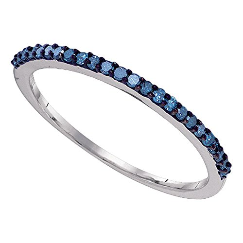 10k White Gold Blue Diamond Wedding Band Stackable Ring Anniversary Style Fashion Slim Delicate 1/5 ctw Size 8