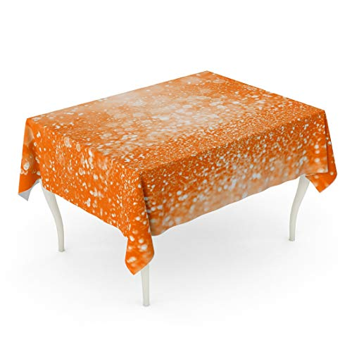 Tarolo Rectangle Tablecloth 60 x 102 Inch Abstract Orange Sparkle Confetti for Happy Birthday Spooky Fall Halloween Party Magic Child Trick Treat Pumpkin and Tangerine Table Cloth -