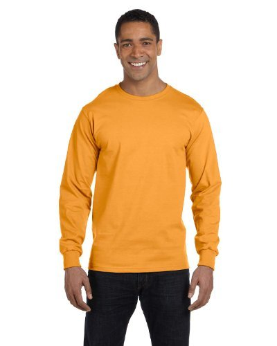 Hanes Baseball Jersey - Hanes 6.1 oz. Long-Sleeve Beefy-T, Large, GOLD