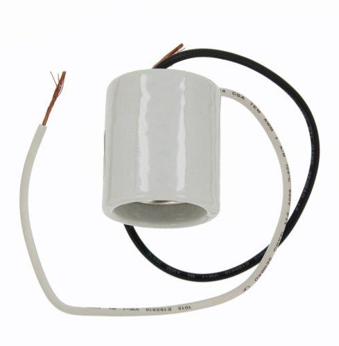 - Leviton 10085 Medium Base, One-Piece, Keyless, Incandescent, Glazed Porcelain Lampholder, Mounting Screws, Single Circuit, White