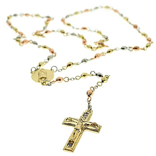 Rosario Gold Finish - Bling Cartel Immaculate Heart Virgin Mary Tri Tone Bead Gold Rose Silver Finish Guadalupe Rosario Jesus Cross Crucifix 24 inch