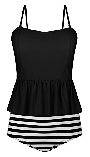 Angerella Vintage Ruffles Top Strap Tankini Swimsuits For Women Two Pieces,Black,US 4-6=Tag Size M