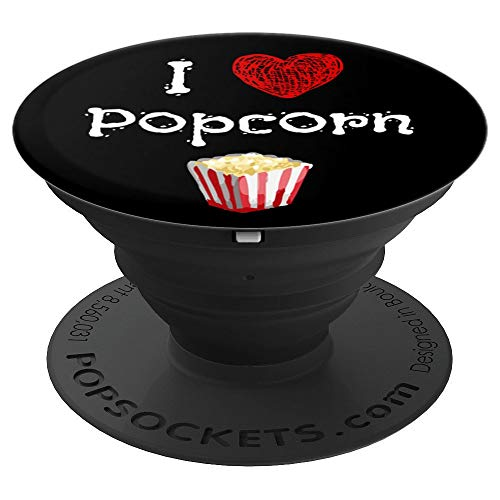 (Popcorn Gift I Love Popcorn Bucket Movie Theater Snack - PopSockets Grip and Stand for Phones and Tablets)