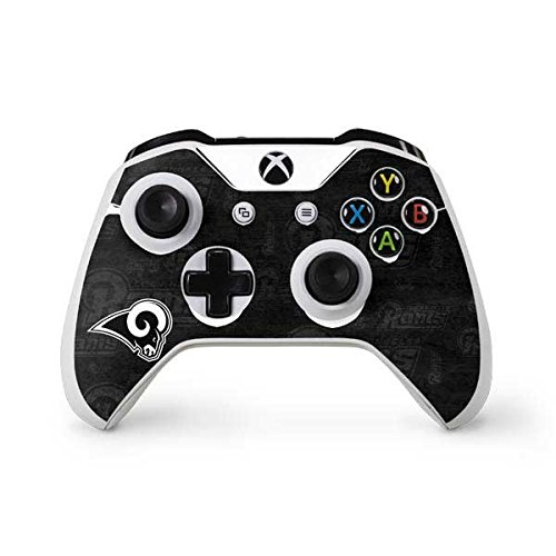 Skinit NFL Los Angeles Rams Xbox One S Controller Skin - Los Angeles Rams Black & White Design - Ultra Thin, Lightweight Vinyl Decal Protection by Skinit